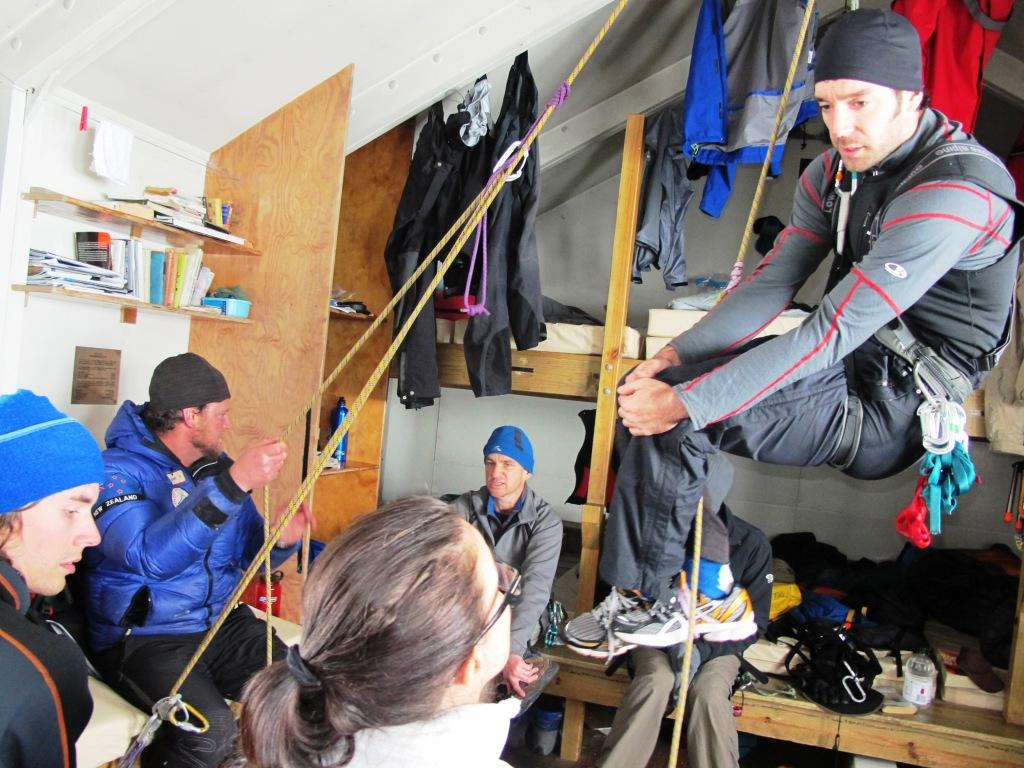 Hanging around in Centennial Hut, NZ mountaineering course.
